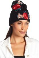Natasha Accessories Embroidered Rose Beanie