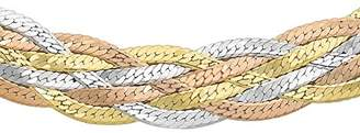 Camilla And Marc Carissima Gold Women's 9 ct Three Colour Five Plait Herringbone Chain Necklace of Length 46 cm