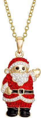 """Crystal and Enamel Santa Pendant with 18"""" Chain"""