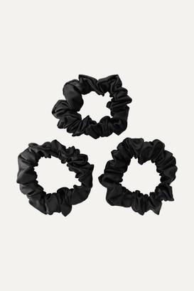 Slip Set Of 3 Silk Hair Ties - Black