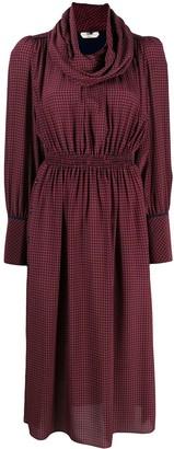 Fendi Gingham Print Silk Dress