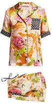 Richard Quinn Rose-print Short-sleeved Silk Pyjamas - Womens - Brown Print
