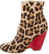 Giuseppe Zanotti Leopard Print Wedge Ankle Boots