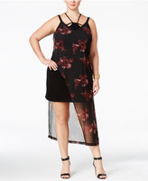 mblm by Tess Holliday Trendy Plus Size Asymmetrical Floral-Overlay Dress