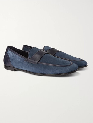 Dolce & Gabbana Leather-Trimmed Suede Loafers