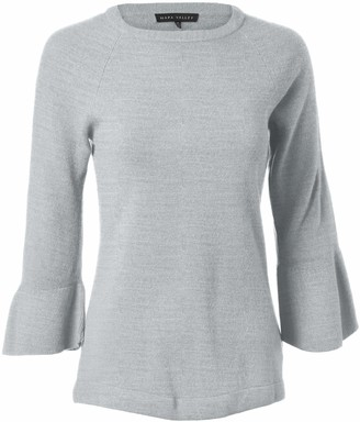 Napa Valley Women's Petite Pullover Sweater with Ruffle Bell Sleeve Light Heather Grey Size Small