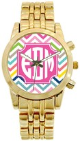 The Well Appointed House Personalized Gold Plated Stainless Steel Boyfriend Watch in Multi Chevron Pattern