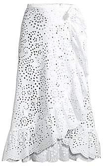 Shoshanna Women's Eyelet Ruffle Coverup Skirt