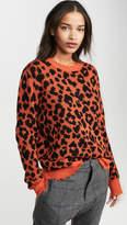 R 13 Orange Leopard Cashmere Sweater