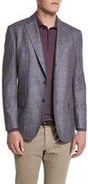 Loro Piana Check-Pattern Cheviot Twill Jacket, Blue/Taupe Fancy