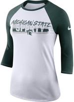 Nike Women's White Michigan State Spartans Static Graphic Raglan 3/4-Sleeve Performance T-Shirt