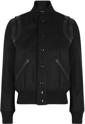Saint Laurent Teddy Leather-trimmed Wool-blend Jacket