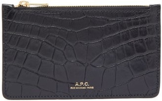 A.P.C. Willow Crocodile-effect Leather Wallet - Womens - Black