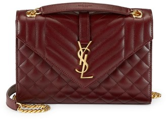 Saint Laurent Medium Envelope Monogram Matelasse Leather Shoulder Bag