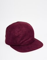 Asos 5 Panel Cap In Burgundy Faux Suede - Red