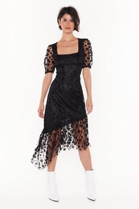 Nasty Gal Womens Spot to Be Missed Polka Dot Midi Dress - black - 4