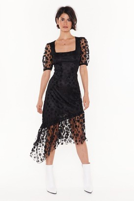 Nasty Gal Womens Spot to Be Missed Polka Dot Midi Dress - Black - 6