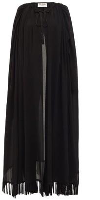 Saint Laurent Tassel-fringed Long Crepe Cape - Womens - Black