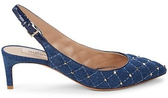 Valentino Studded Denim & Leather Slingbacks