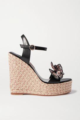 Sophia Webster Riva Appliqued Leather Espadrille Wedge Sandals - Black