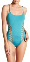 Red Carter Classic Side Cutout Maillot One-Piece