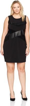 Calvin Klein Women's Plus-Size Sleeveless Pu and Suede Mix Dress