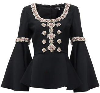 Andrew Gn Peplum-hem Crystal-embellished Top - Black