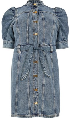 River Island Plus blue puff sleeve mini denim dress