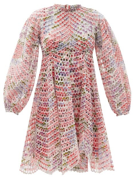 Zimmermann Poppy Floral-print Broderie-anglaise Ramie Dress - Pink Print