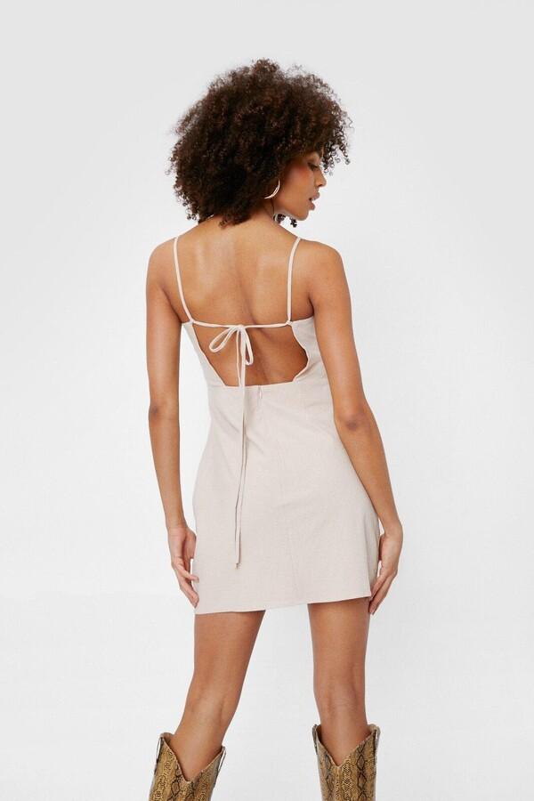 Nasty Gal Womens Linen Look Square Neck Mini Dress - Beige - 4