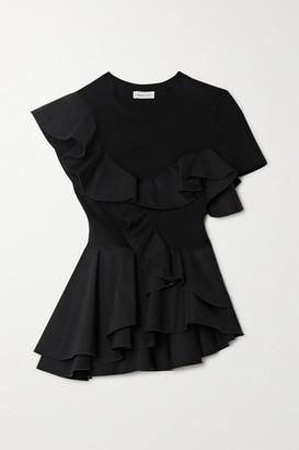 Alexander McQueen Ruffled Sateen And Cotton-jersey Peplum T-shirt - Black