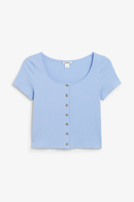 Monki Cropped button-up top