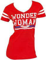 Bioworld Wonder Woman DC Comics Text Logo Varsity V-Neck Juniors T-shirt