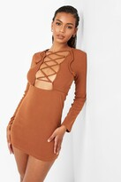 Thumbnail for your product : boohoo Premium Rib Lace Up Back Panelled Mini Dress