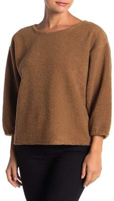 ADY P Faux Shearling Scoop Neck Pullover
