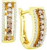 DazzlingRock Collection 0.48 Carat (ctw) 14k Yellow Gold Round & White Diamond Ladies Hoop Earrings