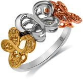 Jessica Simpson Butterfly Ring Diamond Accent 10k Yellow and Rose Gold in Sterling Silver