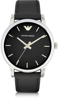 Emporio Armani Signature Dial Men's Leather Strap Watch