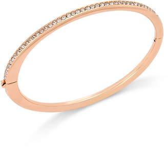 Eliot Danori Rose Gold-Tone Channel Set Crystal Thin Hinged Bangle Bracelet