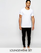 Asos Loungewear Muscle T-shirt And Skinny Joggers 2 Pack Save