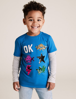Marks and Spencer Pure Cotton Space Invaders Sequin Top (2-7 Yrs)