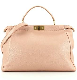 Fendi Selleria Peekaboo Bag Metallic Leather Large