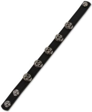 Betsey Johnson Leather Skull Snap Bracelet