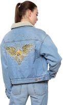 Etoile Isabel Marant Cotton Denim Jacket W/ Faux Shearling
