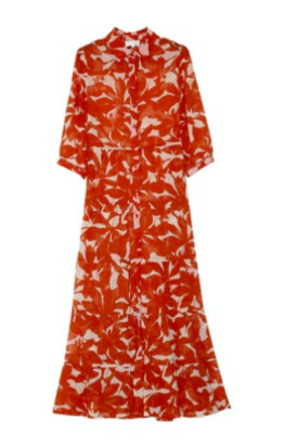 Grace & Mila - Long Printed Maxi Dress Brick - Small