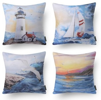 "Phantoscope Ocean Series Decorative Throw Pillow Covers, Sky Blue Sailing, 18"" x 18"", set of 4"