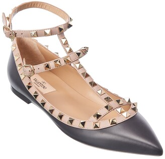 Valentino Rockstud Caged Leather Ankle Strap Flat