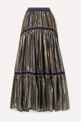 Peter Pilotto Crochet-trimmed Striped Lurex And Chiffon Maxi Skirt - Midnight blue