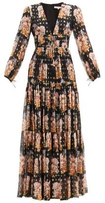 Borgo de Nor Freya Floral-print Tiered Silk-blend Maxi Dress - Black Multi