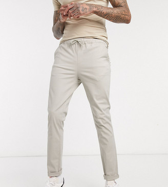 BEIGE ASOS DESIGN Tall skinny chinos with elastic waist in